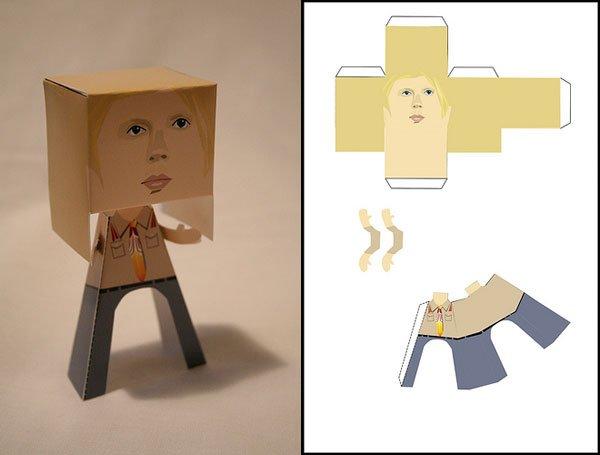 Как из бумаги сделать квадратного человечка из бумаги