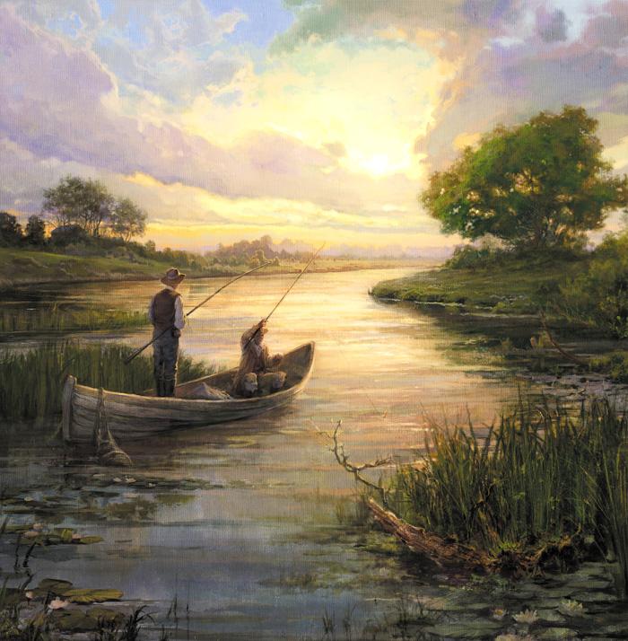 картины художников о рыбаках и рыбалки на природе